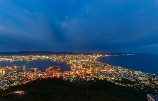 Hakodate-stadtansicht vom berg hakodate