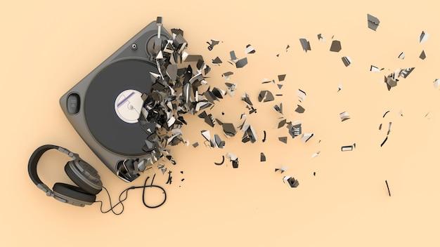 Halb zerstörter drehteller mit fragmenten, die wegfliegen, 3d illustration