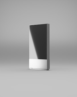 Halbe ansicht der digitalen werbeanzeige. metallgehäuse schwarzer bildschirm. 3d-rendering