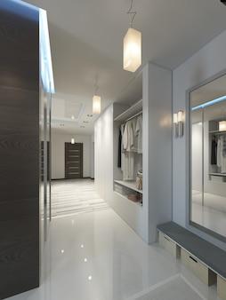 Halle mit einem korridor im zeitgenössischen stil mit einem kleiderschrank und einem schiebeschrank. 3d-rendering.