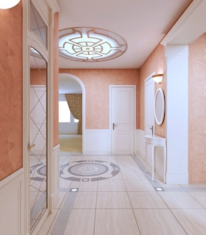 Hallenkorridor im klassischen stil in rosa pastellfarben. 3d-rendering.