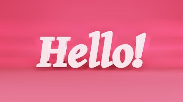 Hallo 3d-logo auf hintergrund mit schatten