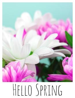 Hallo frühlingsgrußkarte mit weißem rand und textaufschrift, poster mit schönen blumen, foto