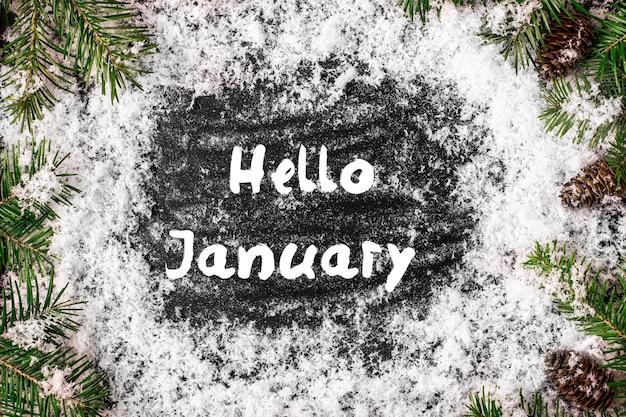 Hallo januar grußkarte. konzept der herbstsaison