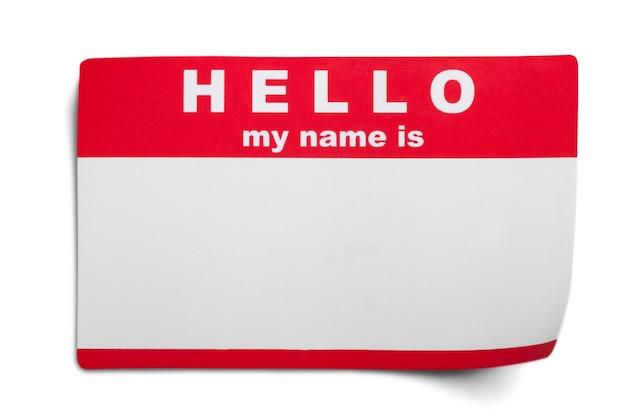 Hallo, mein name ist tag auf dem hintergrund