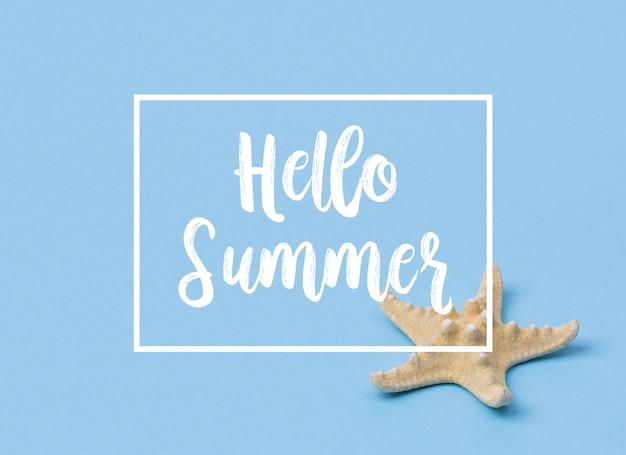 Hallo sommerfahne mit starfish auf blau.