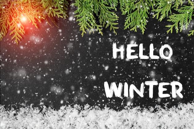 Hallo winter grußkarte. konzept der herbstsaison