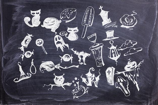 Halloween dekoration und hintergrundkonzept. handgezeichnete sammlung