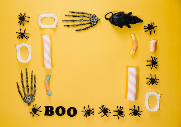 Halloween dekorationen und süßigkeiten