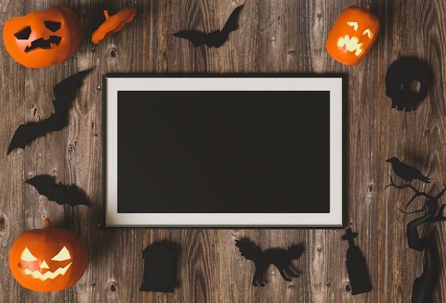 Halloween-feiertagsplakatspott oben mit kürbis. 3d übertragen