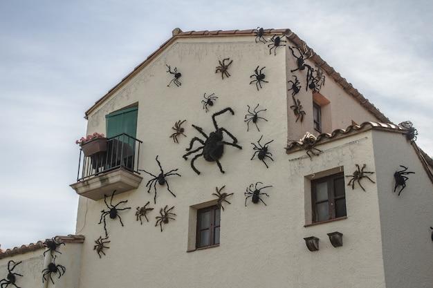 Halloween-ferienkonzept. spinnen am haus