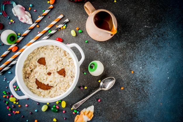 Halloween frühstück haferflocken