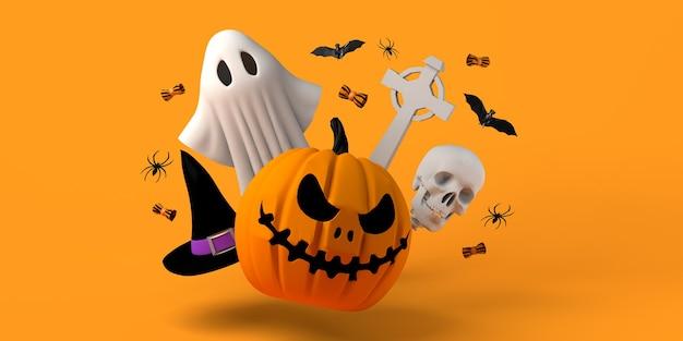 Halloween für kinder mit jackolantern kürbis geist hexenhut fledermäuse 3d-darstellung textfreiraum
