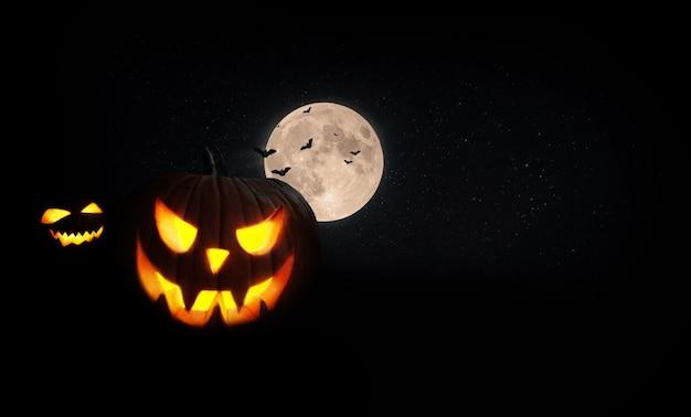 Halloween gruselig kürbisse mit mond und fledermäusen auf dem feld nachts. schwarzes glückliches halloween für design