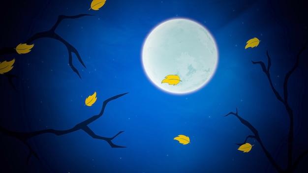 Halloween-hintergrund mit blättern und mond. frohe feiertage abstrakte kulisse. luxuriöse und elegante 3d-illustration für urlaubsvorlage