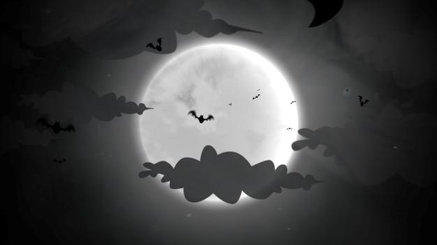 Halloween-hintergrund mit den fledermäusen und dem mond. frohe feiertage abstrakte kulisse. luxuriöse und elegante 3d-illustration für urlaubsvorlage