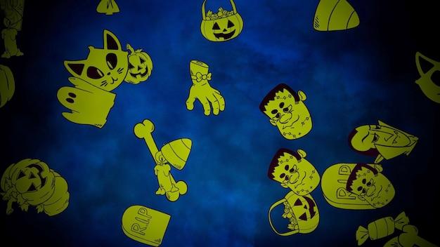 Halloween-hintergrund mit den schädeln. frohe feiertage abstrakte kulisse. luxuriöse und elegante 3d-illustration für urlaubsvorlage