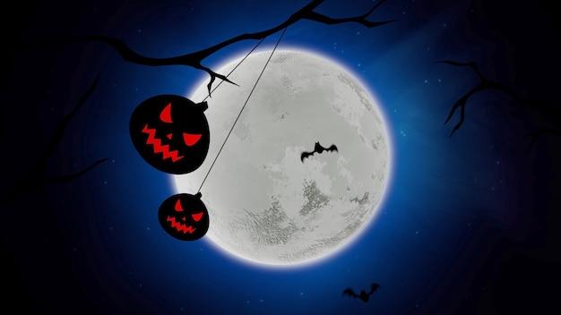 Halloween-hintergrund mit fledermäusen und kürbissen auf bäumen. frohe feiertage abstrakte kulisse. luxuriöse und elegante 3d-illustration für urlaubsvorlage