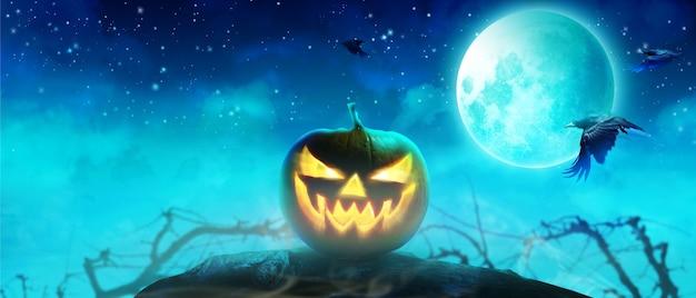 Halloween-hintergrund mit friedhof in einer gespenstischen nacht. Premium Fotos