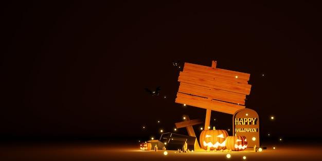 Halloween-hintergrund mit leerem holzschild 3d-darstellung