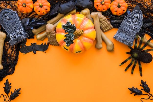 Halloween hintergrund mit raum und spinne
