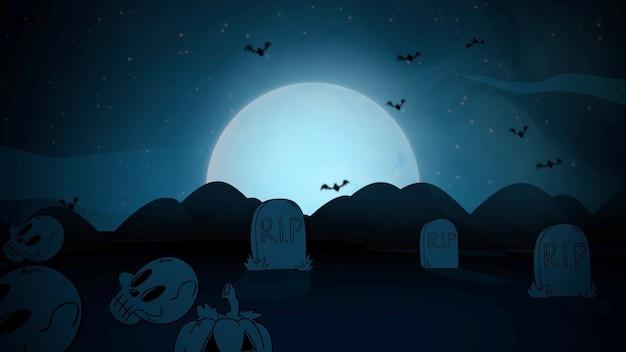 Halloween-hintergrund mit särgen, kürbissen, fledermäusen, schädeln und mond. frohe feiertage abstrakte kulisse. luxuriöse und elegante 3d-illustration für urlaubsvorlage