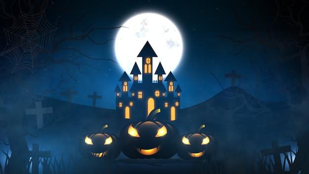 Halloween-hintergrund mit spukhaus