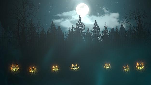 Halloween-hintergrundanimation mit wald und kürbissen, abstrakter hintergrund. luxuriöse und elegante 3d-illustration des horror- und halloween-themas