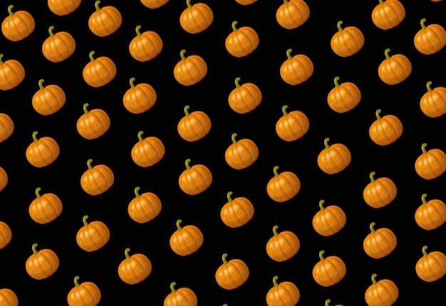 Halloween-illustration eines diagonalen kürbisreihenschwarzhintergrundes