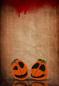 Halloween-jack o-laternen 3d auf einem schmutzblut plätscherten papierhintergrund