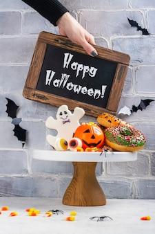 Halloween kinder party tisch mit candy corns