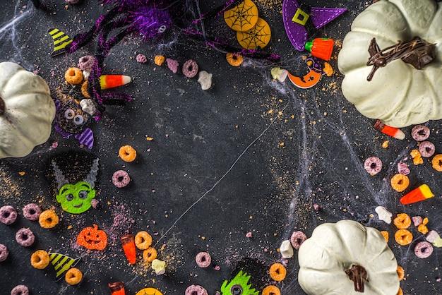 Halloween kinder süßigkeiten mit kürbissen