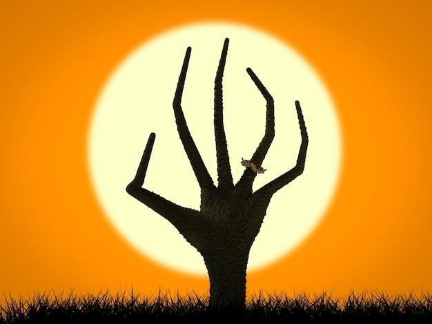 Halloween-konzept mit steigender zombiehand