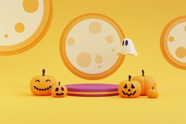 Halloween-konzept, podium für produktpräsentation mit kürbischarakter, geist unter dem mondlicht. auf gelbem hintergrund. 3d-rendering.