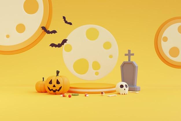 Halloween-konzept, podium für produktpräsentation mit kürbischarakter, grabstein, augapfel, schädel, knochen, süßigkeiten unter dem mondlicht. auf gelbem hintergrund. 3d-rendering.