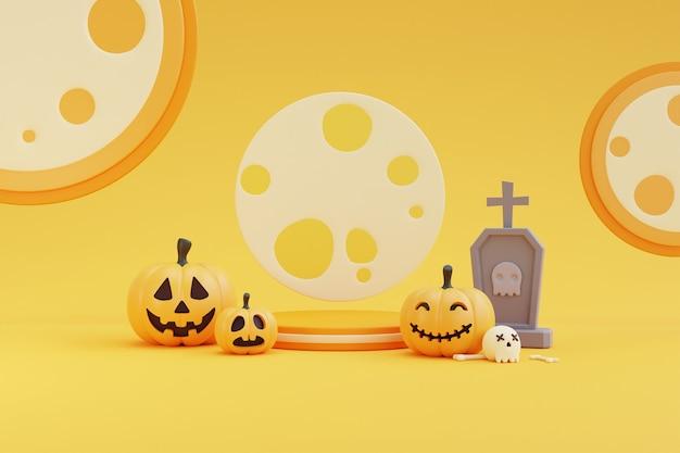Halloween-konzept, podium für produktpräsentation mit kürbischarakter, grabstein, schädel, knochen unter dem mondlicht. auf gelbem hintergrund. 3d-rendering.
