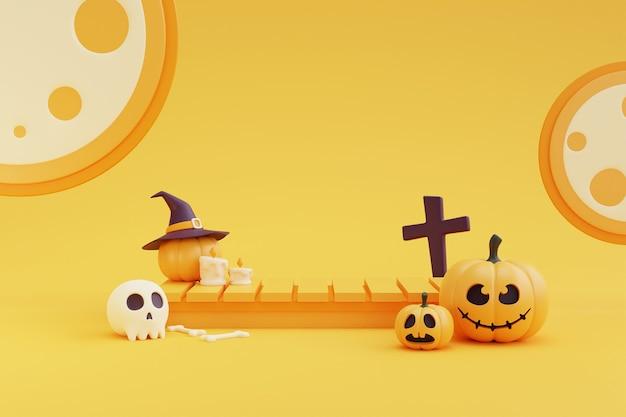 Halloween-konzept, podium für produktpräsentation mit kürbischarakter, kruzifix, schädel, knochen unter dem mondlicht. auf gelbem hintergrund. 3d-rendering.