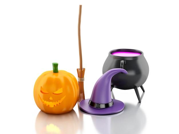 Halloween-kürbis 3d mit hut-, besen- und hexepotentiometer.