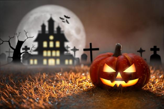 Halloween-kürbis auf dem friedhof mit totem baum und fledermäusen halloween-party- und feier-konzept