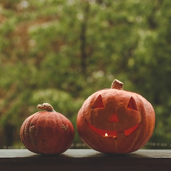 Halloween-kürbis auf einem gemütlichen fensterbrett mit einem roten plaid. ganzer kürbis und wunderkerze im freien. fröhliches halloween! der herbst ist gemütlich. regen draußen.