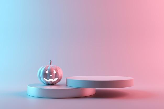 Halloween-kürbis auf leerem produktstand mit neonlichtern auf pastellfarben