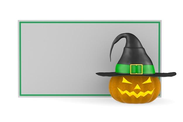 Halloween-kürbis mit fahne auf weißem hintergrund. isolierte 3d-darstellung