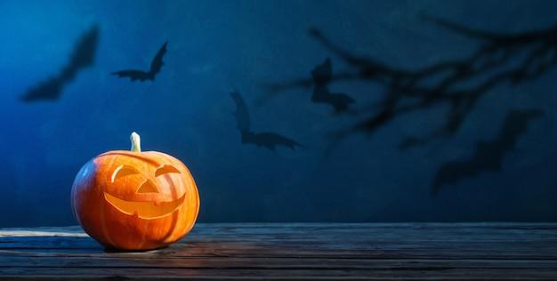 Halloween kürbis mit fledermäusen