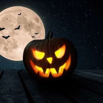 Halloween-kürbis steht auf einem alten holztisch vor dem hintergrund des nachthimmels mit vollmond und fledermäusen. fröhliches halloween-konzept für design