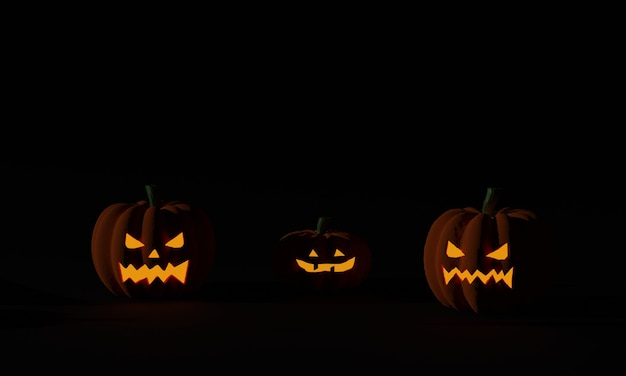 Halloween-kürbis und jack-o-laternen leuchten auf dunklem hintergrund. 3d-rendering