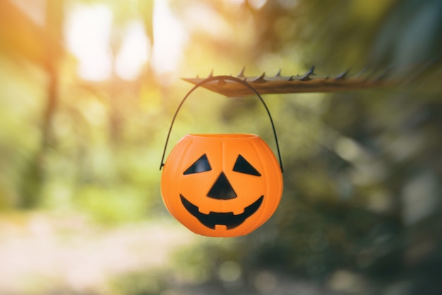 Halloween-kürbislaterne, die an der niederlassung hängt
