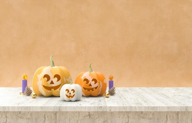 Halloween-kürbisse auf holztisch halloween-hintergrund 3d-rendering