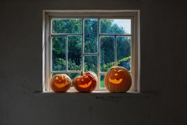 Halloween kürbisse auf weißer fensterbank
