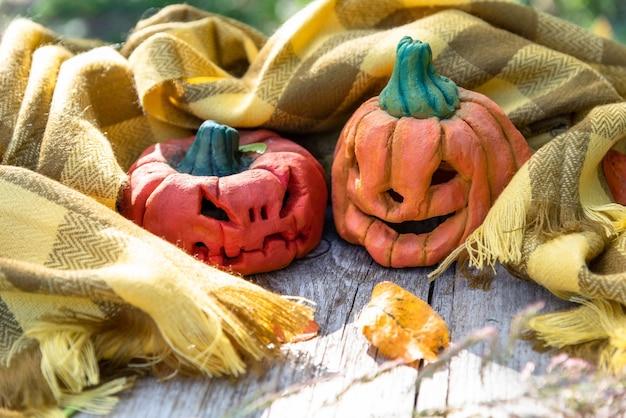 Halloween kürbisse in einem schal