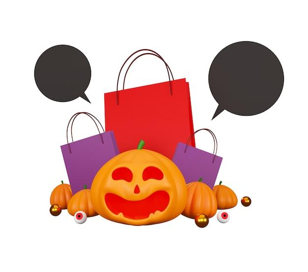 Halloween-kürbisse und einkaufstasche auf weißem hintergrund
